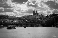 IMG_1677_m1 (aFieW Photography) Tags: prague czechia cz river swans ferry black white castle heart shape clouds