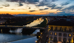 2015.10.11.6212 Crepusculo Fiorentino (Dusk in Florence) (Brunswick Forge) Tags: 2015 sky air tuscany toscano italy italia travel weather clouds architecture florence firenze grouped nikond7100 water sunset autumn night landscape nature river fiume arno aerial bridge dusk historic favorited