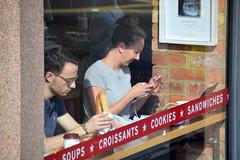 DSC_8593 London Bus Route #205 Shoreditch High Street Pret A Manger Sandwich shop Lady on the Phone (photographer695) Tags: london bus route 205 shoreditch high street pret a manger sandwich shop lady phone