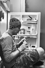 Dinner Desperation (flashfix) Tags: august202018 2018inphotos ottawa ontario canada nikond7100 28mm nikon flashfix flashfixphotography portrait male man fridge kitchen food snack yogurt monochrome blackandwhite