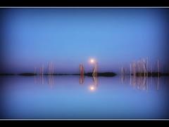 symphony (amdolu) Tags: lindaunis marina nacht mond spiegelung schlei angeln