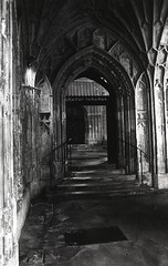 Gloucester cathedral cloister east walk looking towards the organ loft entrance (AJH_1) Tags: fan vaulting gloucester gloucestershire gloucestercathedral cathedral kodak tmax 100iso 35mm england uk bw blackandwhite monochrome church architecture longexposure film