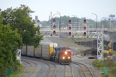 Curving from the left now (Michael Berry Railfan) Tags: cn canadiannational cn401 train freighttrain montreal montrealsub quebec cn2544 cefx1007 cn227 ac4400cw slug dash9 dash944cw ge generalelectric