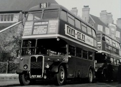 London transport RT127 route 28 Wandsworth Feb 1955. (Ledlon89) Tags: bus buses london transport for londonbus londonbuses lt lte lptb rtbus aec regent chiswick wandsworth