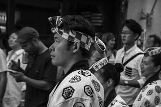 Man attending Awa Odori matsuri in Shimokitazawa