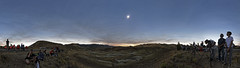 [Intermediate result] Total eclipse of 2017/08/21 from Painted Hills (flurryofsmoke) Tags: totalsolareclipse totality solarcorona sky clouds colors panorama visitors people astronomy astrophotography paintedhillsnationalmonument nature geology oregon usa