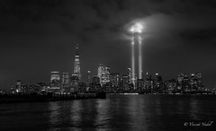 Tribute in light 9/11/18 (tspottr723) Tags: tributeinlights 911 sept 11 2018 nikon d500 1020mm nigh bw skyline skyscraper clouds light lights remembrance nyc new york city liberty state park nj jersey hudson river wtc world trade center monochrome