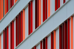 Facade with red and pink panels (Jan van der Wolf) Tags: map186612vv facade red panels rhythm herhaling hospital ziekenhuis pink architecture architectuur