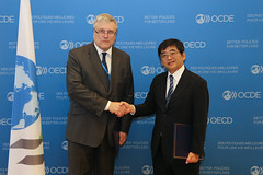 Signing Ceremony with Estonia for the Multilateral Convention to Implement Tax Treaty Related Measures to prevent Base Erosion and Profit Shifting (MLI). (OECDtax) Tags: oecd ocde beps mli kono estonia streimann tax treaty signature signing ceremony