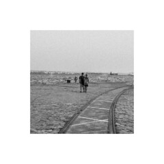 (nancy_rass) Tags: couple square nostalgia grayscale monochrome two stare look alone aftermath vintage old memory frame leading lines road pathway street landscape emotion feeling