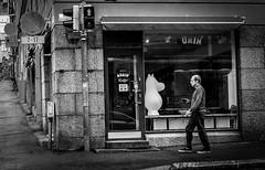 mumin and man (Chilanga Cement) Tags: fuji fujix100f fujifilm bw blackandwhite monochrome helsinki finland reflections reflecting reflection reflective moomin