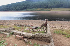 Ruins of building at Derwent village, Ladybower      August  2018 (dave_attrill) Tags: house building pipe derwent village ladybower reservoir ruins low water brickwork stonework site august 2018 bamford peakdistrict nationalpark derbyshire sky landscape tree mountain river mangrove forest road grass