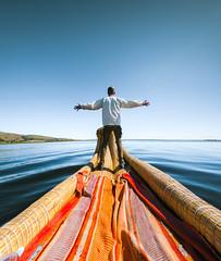 Quiétude ㄨ Titicaca (ThibaultPoriel) Tags: lactiticaca titicaca peru pérou voyage travel lac lake blue colors sky man oneperson adventure discover navigation traditional losuros southamerica outdoors outdoor