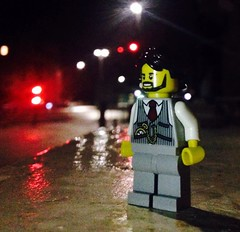 Rainy night in Hove (craigslegostuff) Tags: lego moc minifig mini figure outdoor street garden town photography outdoors open air seaside sea beach hove brighton daytime evening night kingsway road nightime man beard smart pocket watch cars motorway seafront cmf collectible toy kid kids game games afol