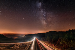 The Milky Way illuminate the highway (benitoorion) Tags: astronomy astrophotography astrophoto space countryside landscape starscape highway autoroute milkyway voielactée occitanie languedocroussillon lozere