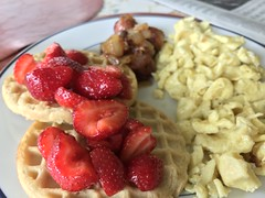 Strawberry waffles, scrambled eggs, chicken apple sausage (TomChatt) Tags: food homecooking