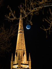 Cathedral Crescent Moon (Joel Bramley) Tags: lunar moon crescent cathedral spire church architecture night bendigo