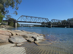 Kalang River, Urunga, NSW (Diepflingerbahn) Tags: kalangriver steelgirderbridge urunga nsw river bridge rocks boatramp