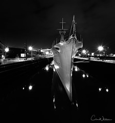 HMS Caroline (Colin R30) Tags: belfast battleship battleofjutland night nightphotography nightsky nightlandscape water worldwarone boat dock slipway lights amazing beautiful blackandwhite bw