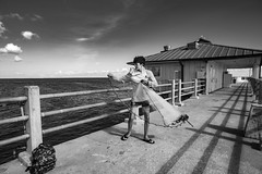 Practice (Beth Reynolds) Tags: fish fishing casting net practice red tide beach gulf bay salt shore water florida fort desoto pinellas pier monochrome blackandwhite