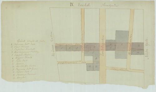 Reguleringsplan etter bybrannen i Trondhjem 1841 - Kvartal IX (Skisse)
