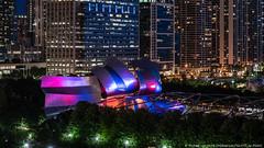 Pritzker Pavilion (20180809-DSC06720) (Michael.Lee.Pics.NYC) Tags: chicago pritzkerpavilion millenniumpark night hotelview cindysrooftop chicagoathleticassociation architecture cityscape sony a7rm2 fe24105mmf4g frankgehry