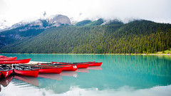 Canoe Reflection at Lake Louise (Sid's Corner) Tags: green canada canadianrockies rockies nature natureaddict nationalgeographic nationalgeographicworldwide ngc northamerica blue adventure schoksi schoksiphotography scenery nikond800 americas d800 flickraward flickrcentral flickrgallery flickrawardgallery picoftheday landscape landscapes lake lakes paradise travel tripofalifetime viewpoint nationalparks nationalpark banff banffnationalpark canadianparks reflection reflectionpool naturephotography lakelouise louise bluesky glacier glaciallake mountain mountains glacierlake canoe canoeing red