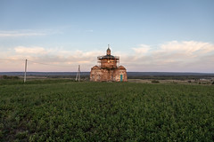 Old Church. (Oleg.A) Tags: grass penzaregion destroyed church nature orange summer tower twilight architecture cross wall village ruined saintnicolaschurch landscape sunset old brick outdoor rural evening countryside blue colorful ancient building cathedral russia dome sky materials exterior orthodox field staryakutlya catedral landscapes outdoors