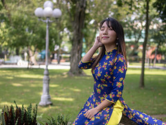 Young woman in Ao Dai deep breathing in public park (Apricot Cafe) Tags: img105566 aodai asia asianandindianethnicities hochiminhcity millennialgeneration tamronsp35mmf18divcusdmodelf012 vietnam vietnameseethnicity vietnameseculture breathing carefree citylife colorimage copyspace cultures day eyesclosed greencolor happiness lifestyles longhair nature oneperson oneyoungwomanonly outdoors people photography portrait publicpark realpeople refreshing relaxing resting selectivefocus serenepeople sitting smiling stone straighthair threequarterlength tourism tourist tradition traditionalclothing travel women youngadult