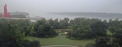 江煙迷濛 a morning fog full of the Long River (沐均青) Tags: chinese travel summer china historical cultural mausoleum green buildings tree water river fog red ship cruise