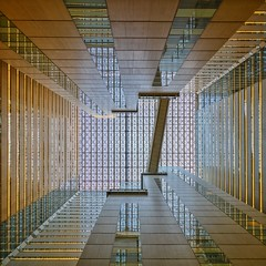 The Way Up (Paul Brouns) Tags: shinjuku main post office reflection levels lines square tokyo japan shinyuku district perspective look up looking patterns ceiling glass footbridge atrium paulbrouns paul brouns paulbrounscom architecture архитектура япония токио шинюку