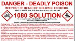 1080 warning label (CH2FCOONa) Tags: deadly poison n zdoc forrest bird 1080 sodium monofluroacetate mono fluroacetate doc department conservation fb nz newzealand corruption