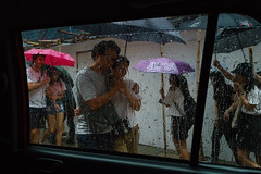 Hong Kong (jaumescar) Tags: rain mood atmosphere street umbrella frame people color candid canpubphoto couple love purple pink asia