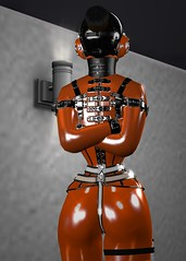 M_014 (susansq14) Tags: secondlife second life bondage heavy rubber latex mask gag gagged susan saariquandt prisoner rubberslave bound indoor heavyrubber gearfetish rubberbondage insex fetisheyes pvc plastic leather total immobilization sensory deprivation rainwear outdoor
