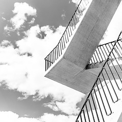 up (morbs06) Tags: nationalparkzentrum swiss valerioolgatti zernez abstract architecture building bw concrete facade geometry light lines museum pattern repetition shadow sky square stairs stripes texture windows