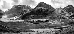 Glencoe i (Niaic) Tags: glencoe scotland highlands britain mountains unitedkingdom hills mountain valley valleys terrain landscape monochrome blackandwhite trees outdoors grain grainy panasonic lx100 contrast countryside scenery scenic rugged cloudy clouds summer view