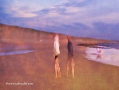 By The Sea (Salwa Afef) Tags: sea beach slowshutter painterly iphonephotography mobile iphone iphoneart ipad people texture