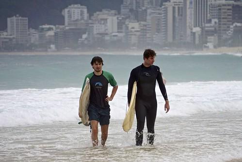 Surfing at Ipanema Beach