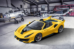 Ferrari 488 Pista Spider (nike_747Original) Tags: naksphotographydsign ferrari 488 pista spider highkey supercar hypercar super hyper car sportscar sport class exotic rare luxury color auto limited edition roadlegal air borne fxxk fxxevo spiderxx hangar box planes airfighters london bus tank lamps light concrete blocks asphalt military jets hawk bombers warhawk tomahawk opentop roadster twinturbocharged v8 yellow green blue black carbon fiber bricks wall