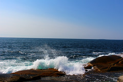 (Julianne Baker) Tags: water ocean atlantic nova scotia peggys cove blue sky waves crash splish splash white nature beautiful landscape rocks seaweed sea rock clear calming peaceful tourism
