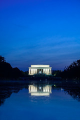 Rhapsody in Blue (BenBuildsLego) Tags: abraham lincoln memorial twilight night dusk blue sad portrait reflecting pool pond sony a6000 monument sunset white