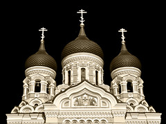 Alexander Nevsky Cathedral 3 (RobertLx) Tags: church religion christian cathedral orthodox tallinn toompea estonia building architecture tower dome sepia monochrome black city alexandernevskycathedral symmetry baltic