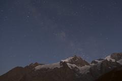 Tour de l'Oisans et des Écrins (GR54) (Kitty Terwolbeck) Tags: ecrins alps france frenchalps mountains outdoors hiking trekking nature adventure huttentrektocht snp groepsreis travel bergwandelen gr54 tourtheoisans tourdeloisans oisans alpen fransealpen hautesalpes lameije stars evening night nightscape astrophotography nightphotography glaciers snow rocks milkyway aubergeensoleillee lesterrasses isère