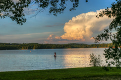 Paddling - Lake Hartwell - South Carolina (DT's Photo Site - Anderson S.C.) Tags: canon 6d sigma 50mm14 art lens clemson townville lake hartwell oconee southcarolina recreation upstate pet kayak surf board kid dog cloud dusk scenic landscape serene tranquil southernlife summer august