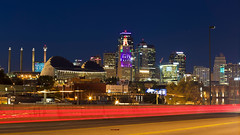 """Kansas City is on the Move (KC Mike Day) Tags: cityscape trails car night photography expsoure long """"kansas city missouri midwest"""