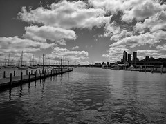 Club (ancientlives) Tags: chicago illinois il usa downtown lakemichigan lakefronttrail lakeshore chicagoyachtclub yachts lake moorings clouds sunshine wednesday september 2018 boats sailing club water landscape walking blackandwhite bw monochrome mono
