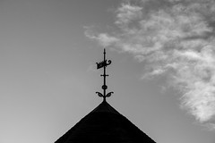 The only way is.... (Anxious Silence) Tags: berkshire reading blackandwhite winter roof architecture building silhouette weathervane