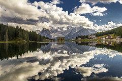 Reflection (Ely 968) Tags: misurina lake reflection sky clouds trees wood sorapiss mountains dolomiti italy alps nature landscape blue
