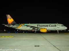 Thomas Cook Airlines EC-MTJ HAJ at Night (U. Heinze) Tags: aircraft airlines airways airplane planespotting plane flugzeug haj hannoverlangenhagenairporthaj eddv nikon olympus