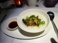 QR Inflight Meal: Fish & Mushroom Congee (:Dex) Tags: congee porridge mushroom soysauce fish inflightmeal inflightfood food yummy qatarairways qr